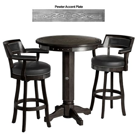 Beautiful Harley Davidson Pub Table And Backrest Stool Set W/Vintage Black Finish  $1,756.00
