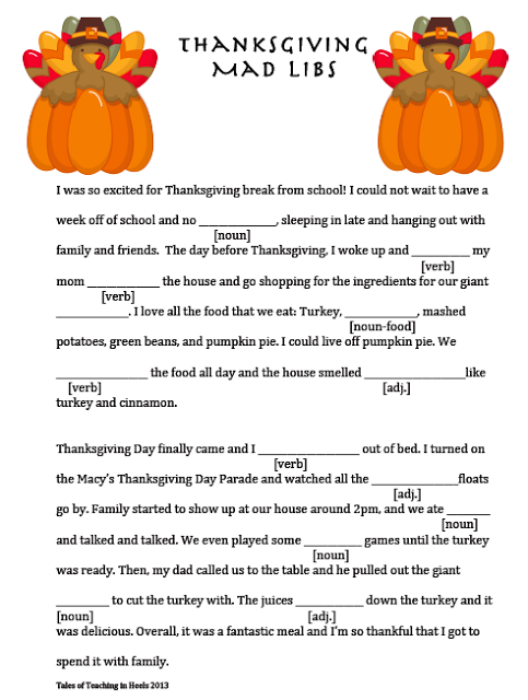 picture regarding Thanksgiving Mad Libs Printable named FREEBIE:Thanksgiving-Themed Outrageous Lib Centre College Significant