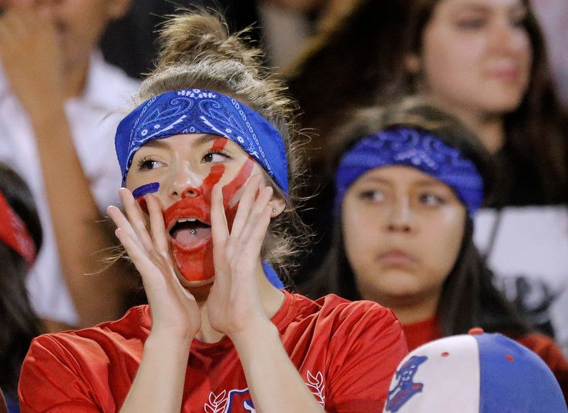 . MARK LAMBIE�EL PASO TIMES  Bel Air students cheer on their team as they play Andress Friday at Bel Air High School.