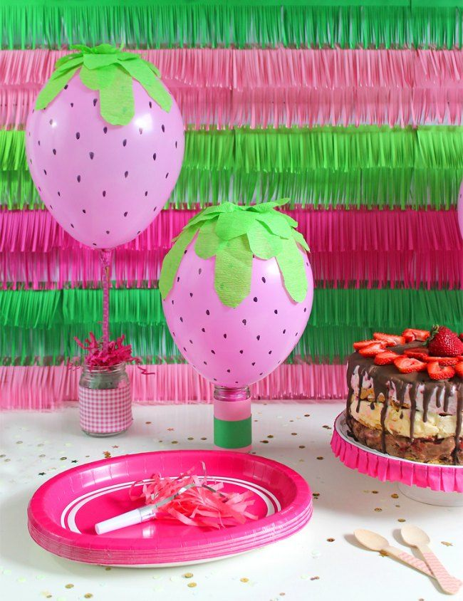 DIY Balloons with Strawberry design | Decorations for Parties ...