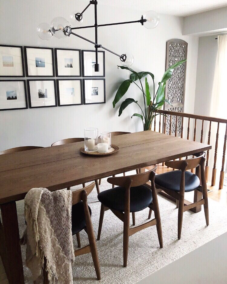 Mid Century Dining Room With Walnut Chairs And Ikea Morbylanga