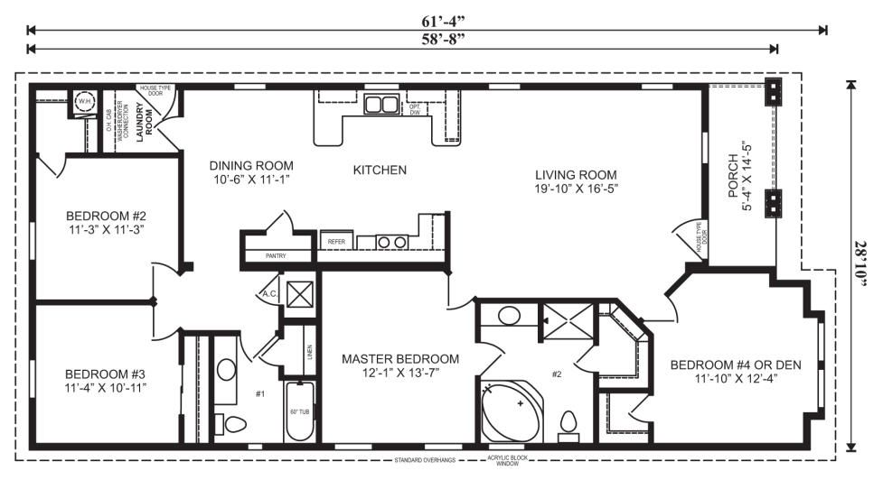 Log cabin mobile home floor plans gurus floor for 4 bedroom log home floor plans