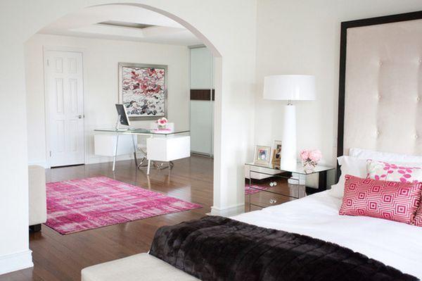 Schlafzimmer Bogen Farbschema Pink Schwarz Weiß Dekoartikel Ideen