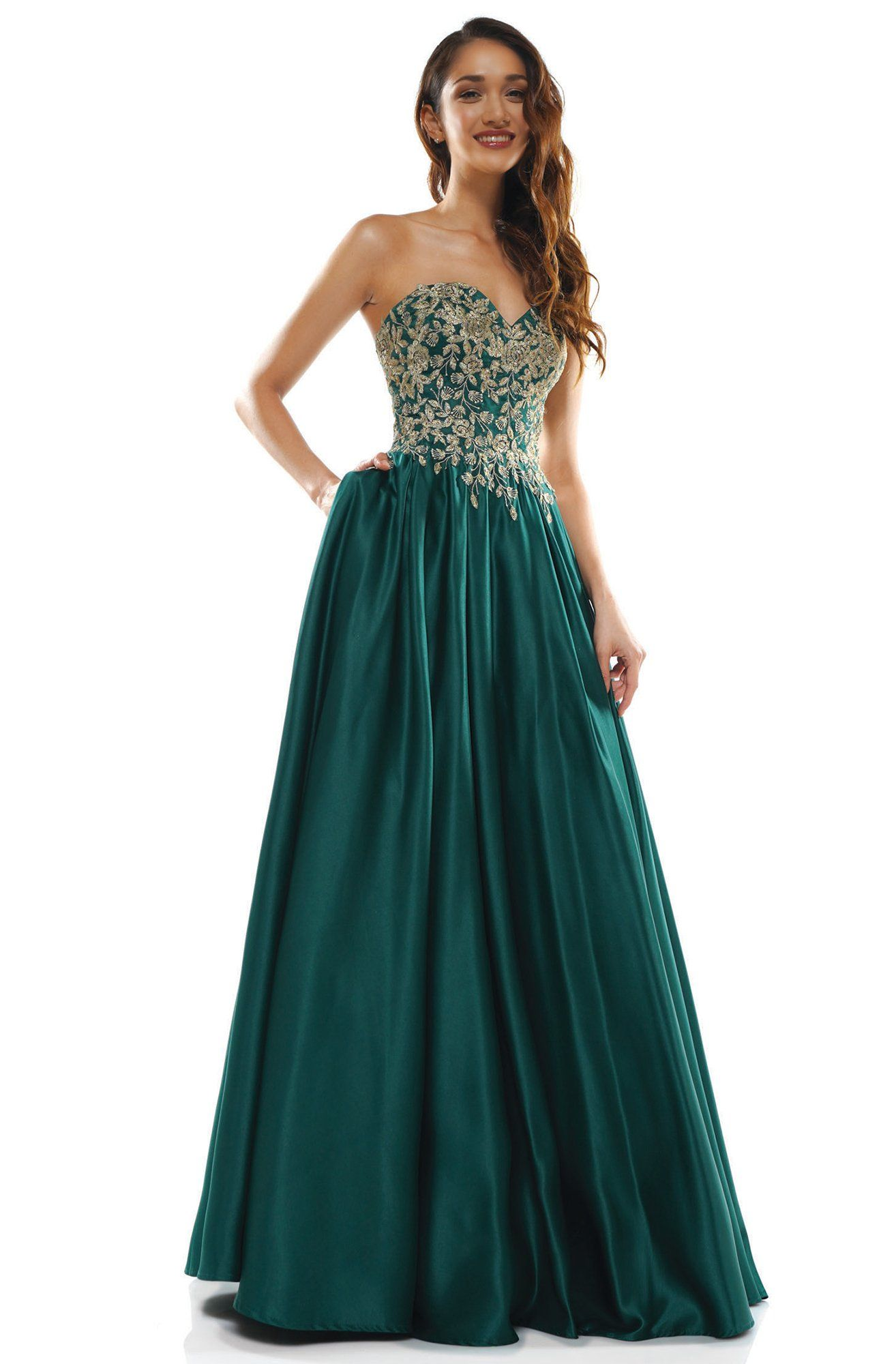 Glow Dress G897 Strapless Long A Line Dress In 2021 Emerald Green Prom Dress Dresses Strapless Prom Dresses [ 2000 x 1314 Pixel ]