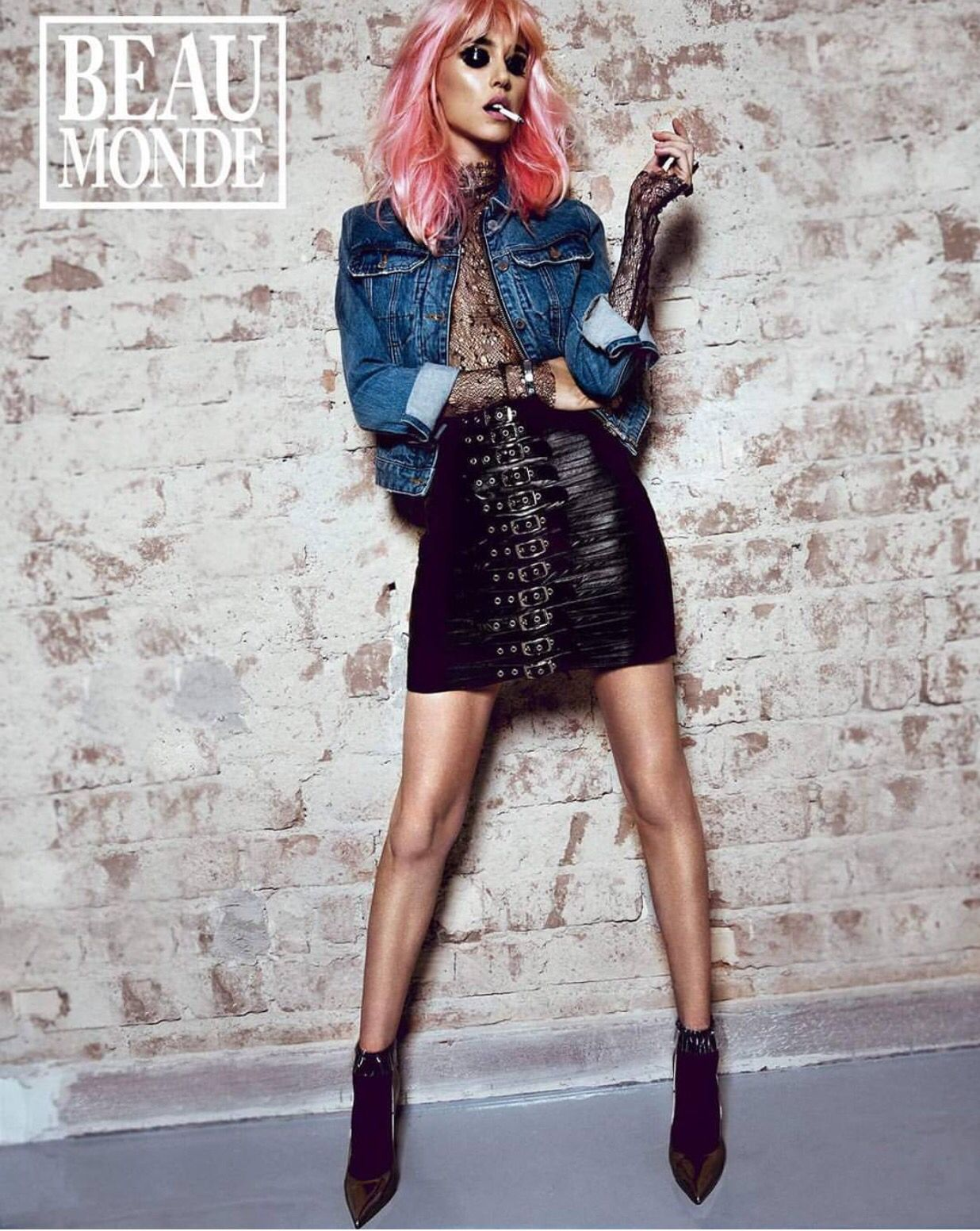 Our black crocodile embossed leather skirt was featured in the June issue of Beau Monde Magazine #Leather #LeatherSkirt #BeauMonde #Fashion #Magazine