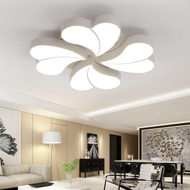 Nice Creative Four Leaf Clover Shape Iron Ceiling Lamp White Black Modern Led Ceiling Light Acrylic Shade Plafon Luminaria Led Lampen family room d cor