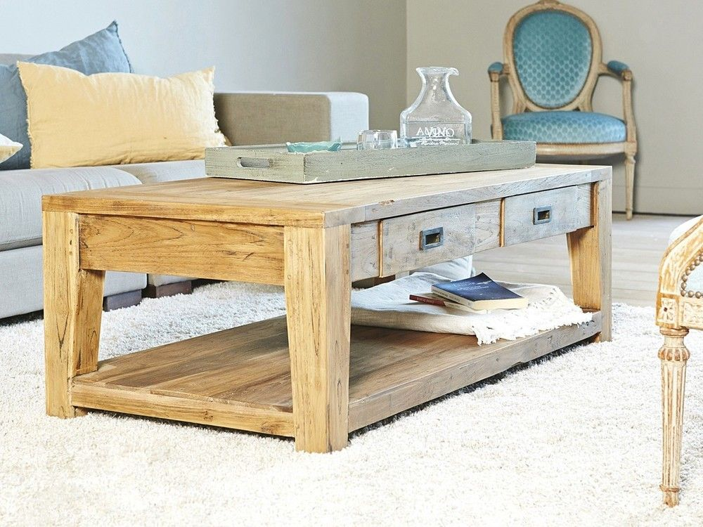 Table Basse Rectangulaire Teck Recycle 120Cm