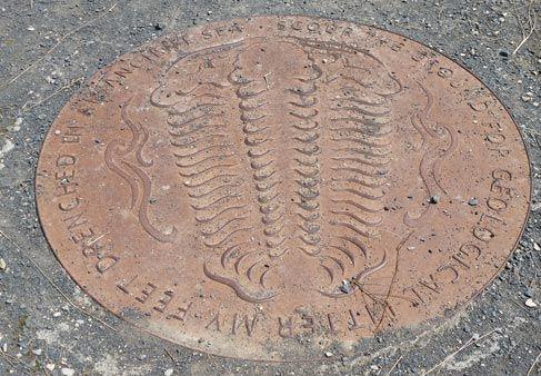 The Trilobite plaque at Wrens Nest (Dudley).