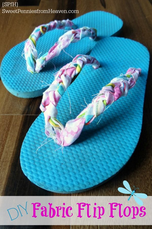 These DIY Fabric Flip Flops are so fun and easy to make! Make fun and frilly, or with your team sports colors, anything goes!