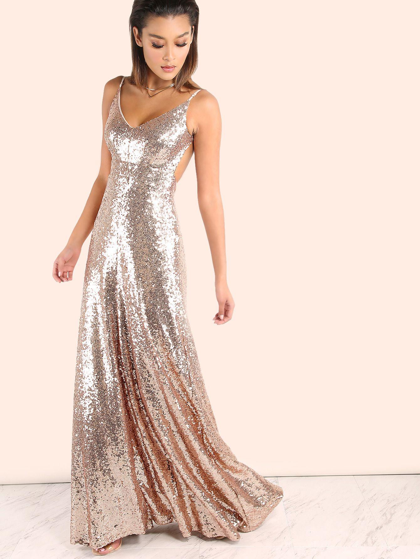 Backless Sequin Cami Maxi Dress ROSE GOLD | MakeMeChic.COM ...