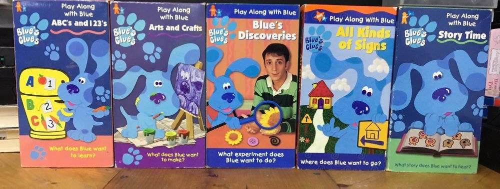 Blues Clues Vhs Lot Steve Burns Nick Jr Kid Story Time Abcs Arts And Craft Movie Blues Clues Stories For Kids Blues