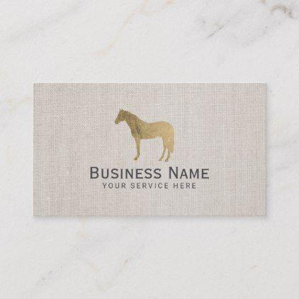 Gold Horse Equestrian Equine Elegant Linen Business Card Zazzle Com Linen Business Cards Gold Horse Horse Equestrian