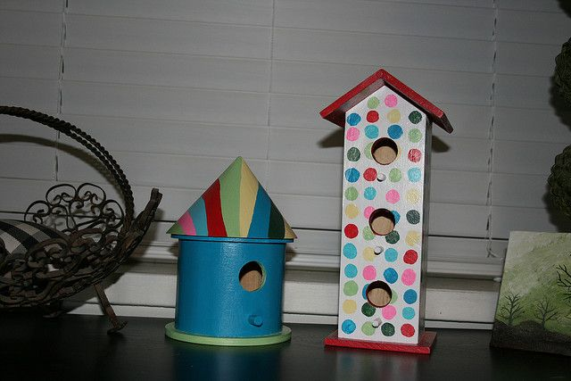 colorful painted bird house - Google Search