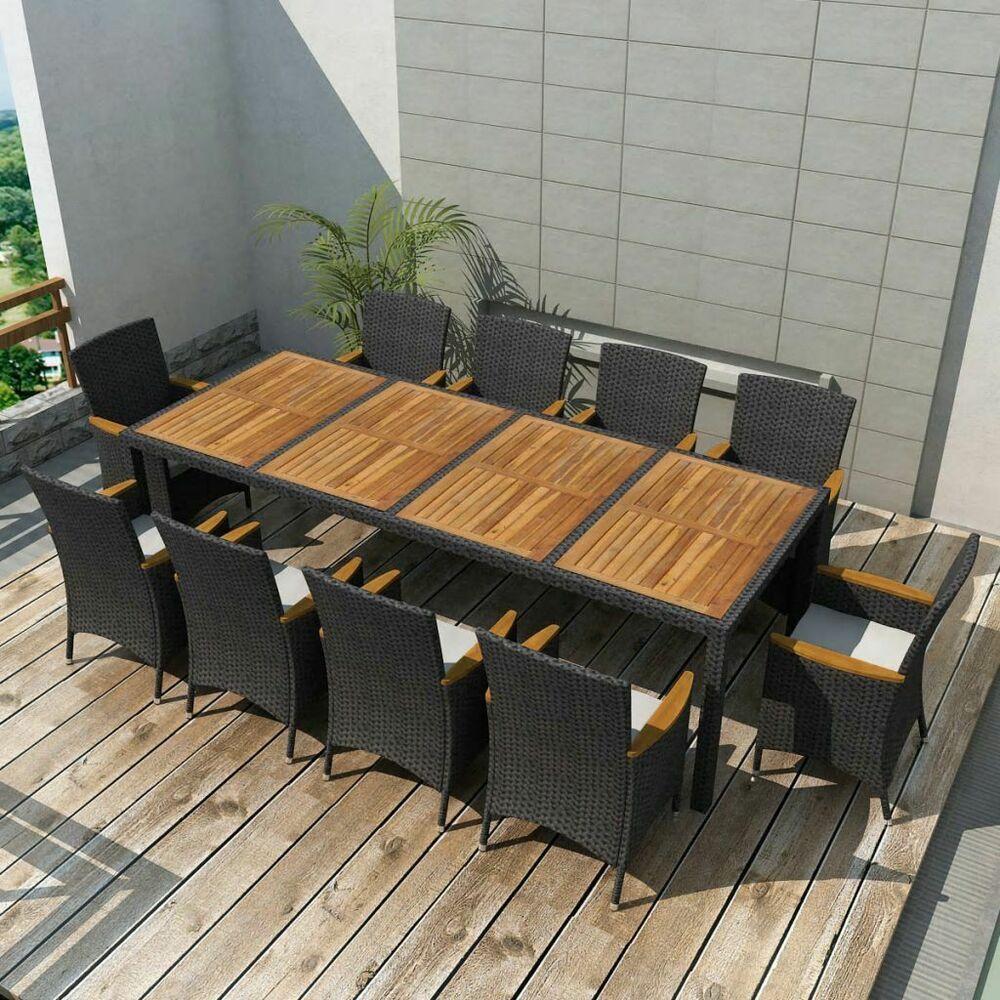 Salle A Manger De Jardin En Resine Tressee vidaxl jeu de mobilier de jardin 21 pcs noir résine tressée