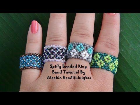 Spiffy Beaded Ring Band Tutorial - YouTube   bead weaving tutes ...
