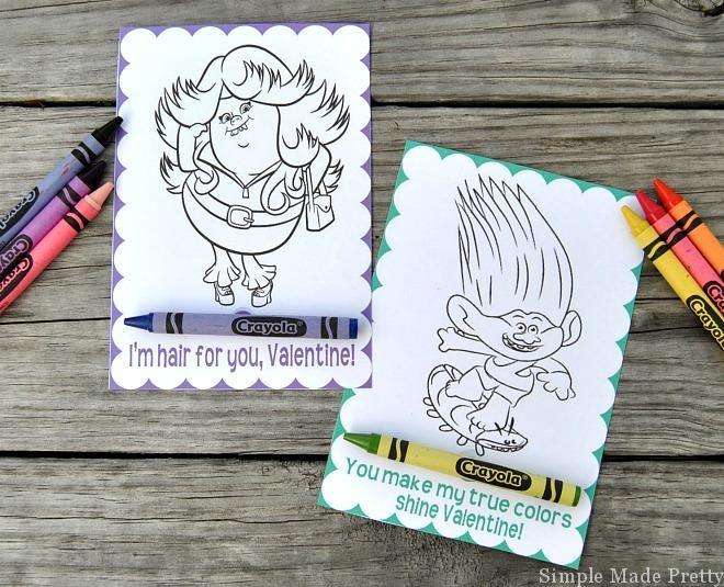 Free Printable Trolls Movie Valentine Coloring Cards Valentines Printables Free Valentines Cards Valentine Coloring