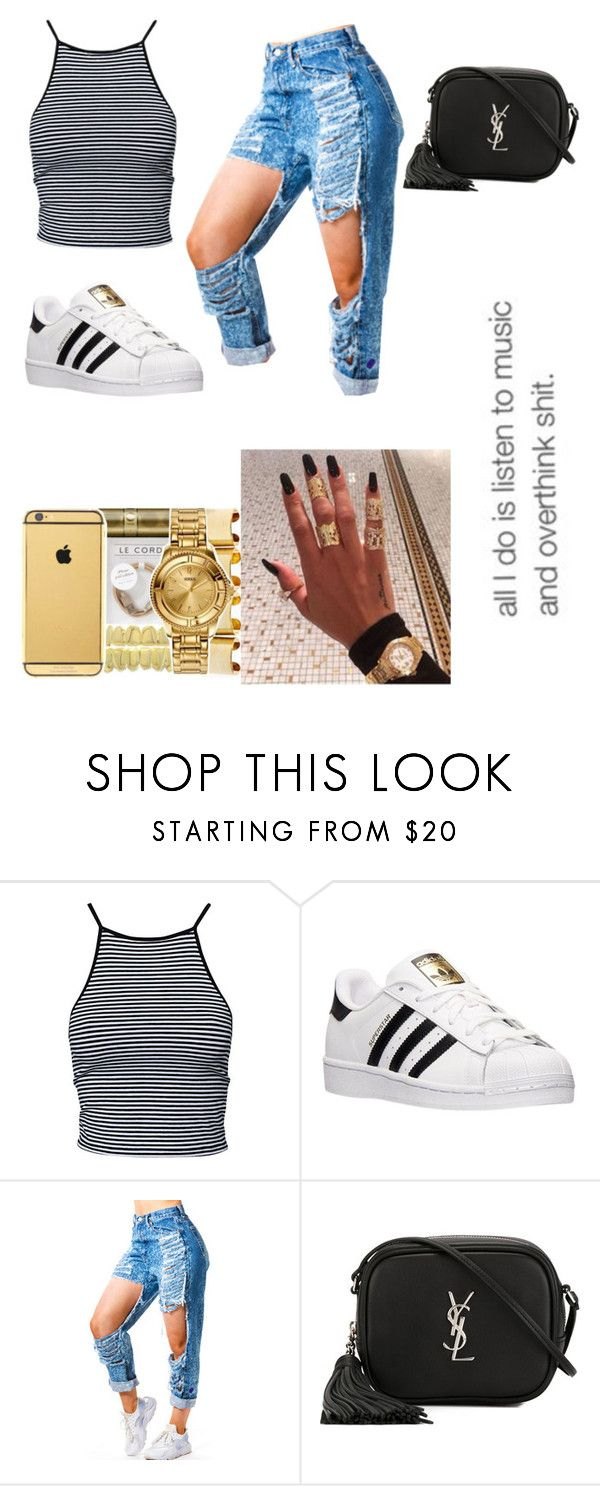 """""""All day"""" by trillparadise ❤ liked on Polyvore featuring Estradeur, adidas, Yves Saint Laurent and xO Design"""