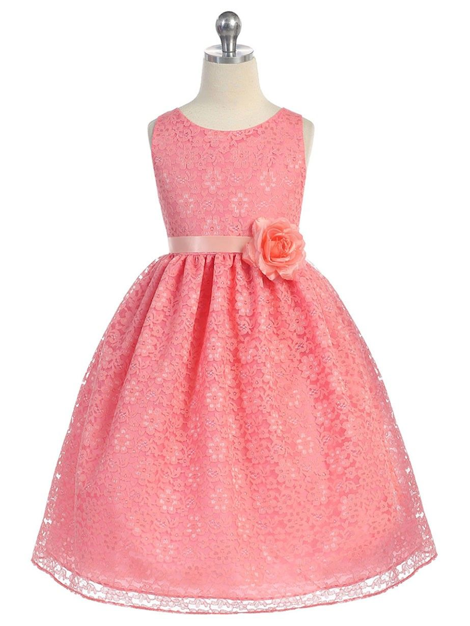 1d36222c929 Coral Lovely Floral Lace Flower Girl Dress (Available in Sizes 2-12 in 13  Colors)