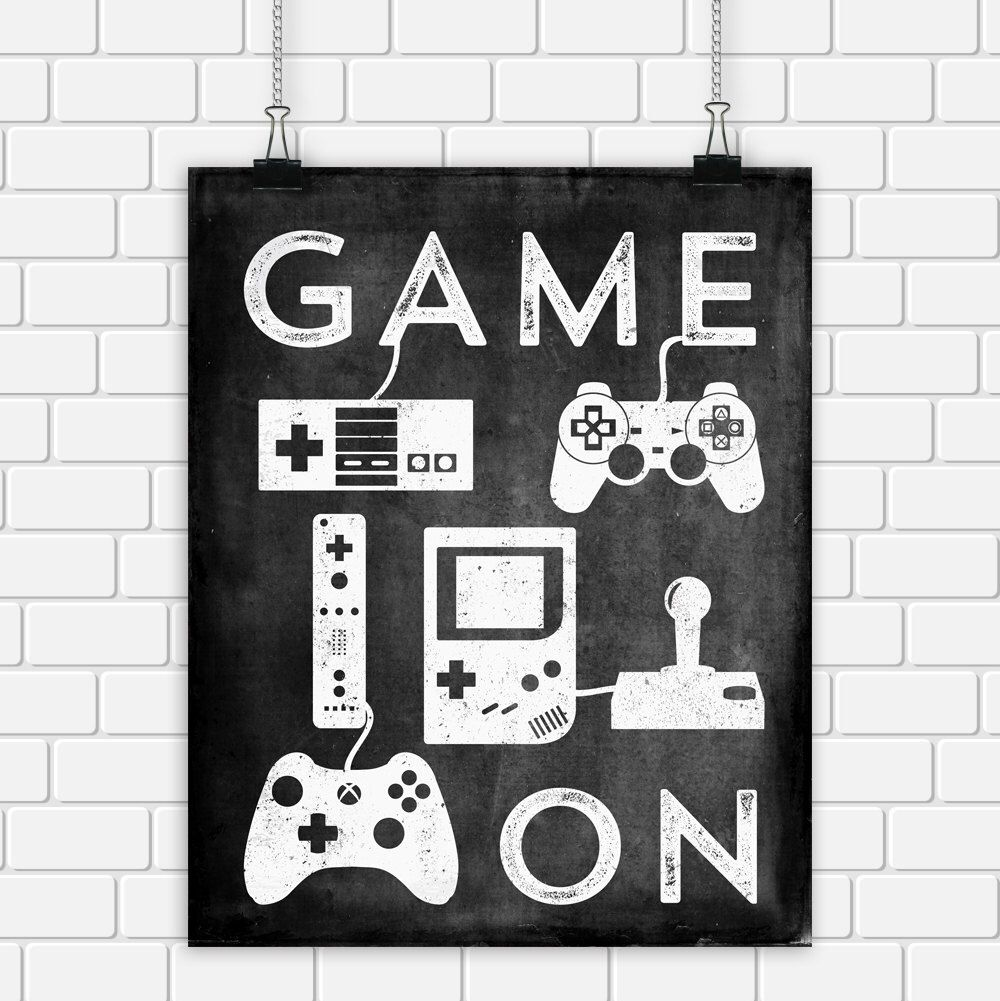 Video game printable art typography game controllers black white