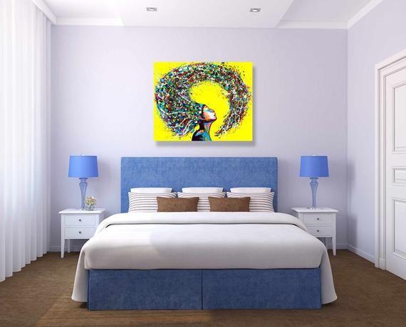 Large Woman Portrait Living Room Wall Art Colorful Wall Art Etsy In 2021 Wall Art Living Room Yellow Wall Art Etsy Wall Art