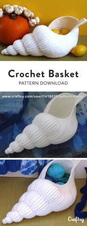 Photo of Crochet this unique shell-shaped basket for your home. Get …