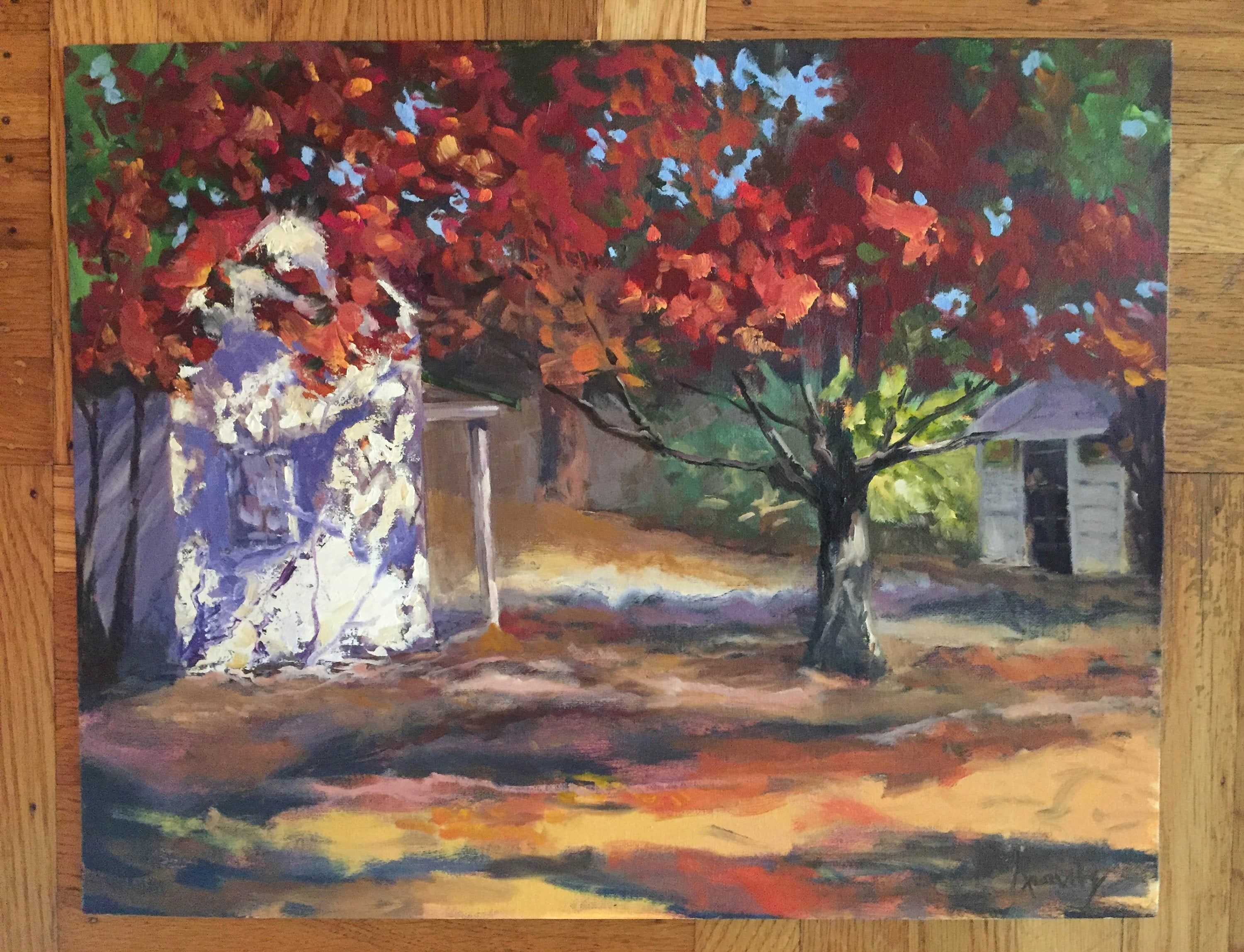 California plein air landscape of autumn trees leaves and