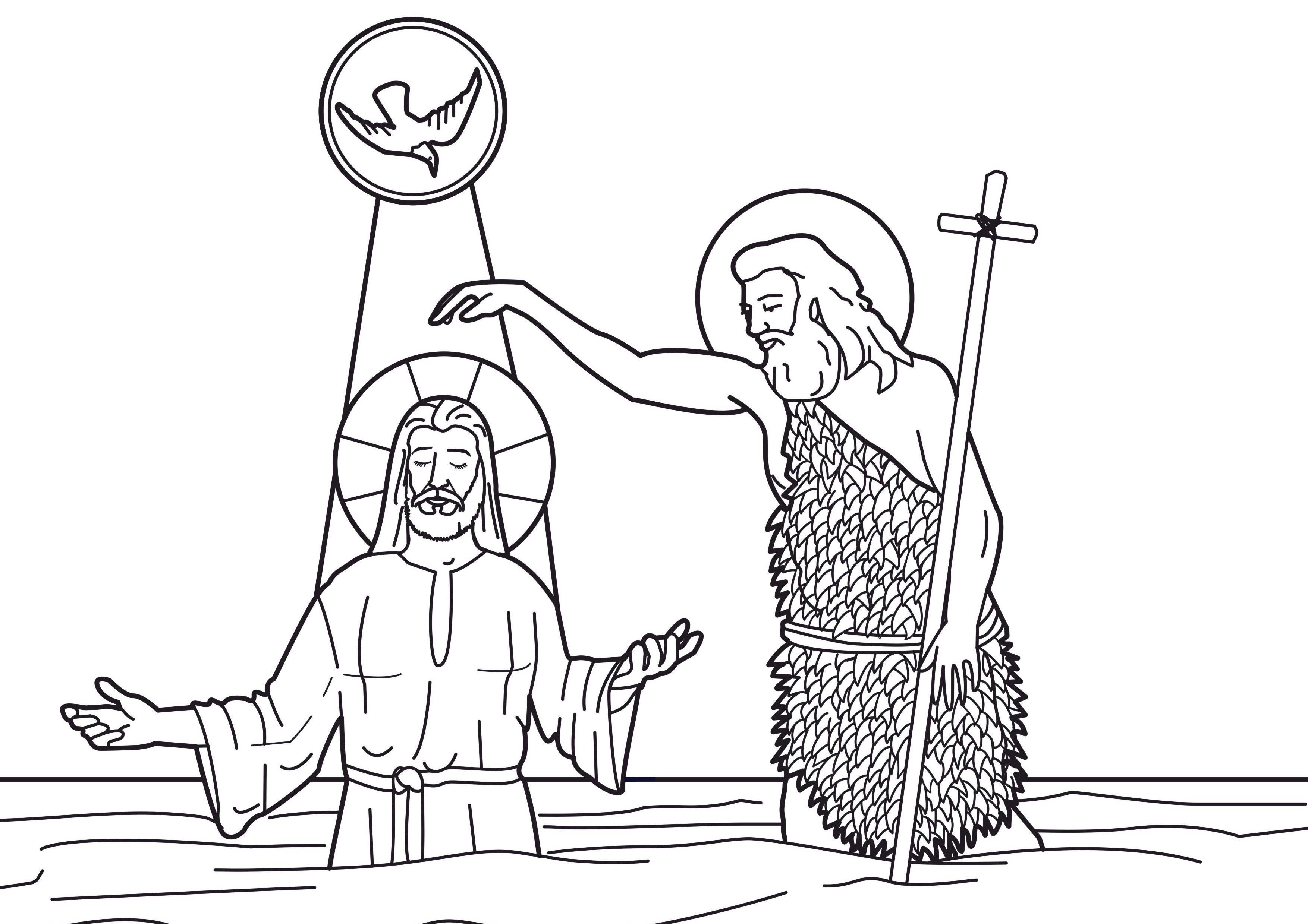 Baptism Of Christ In The River Jordan With Saint John The Baptist Catholic Coloring Page Catholic Coloring Bible Coloring Pages Baptism Pictures