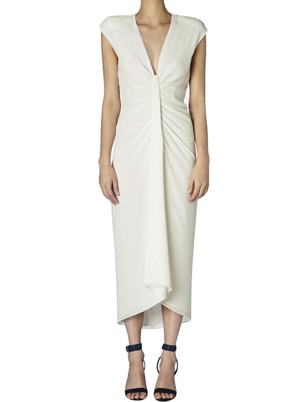 White dress david jones - Cream Crepe Giselle Rouched Dress David Jones