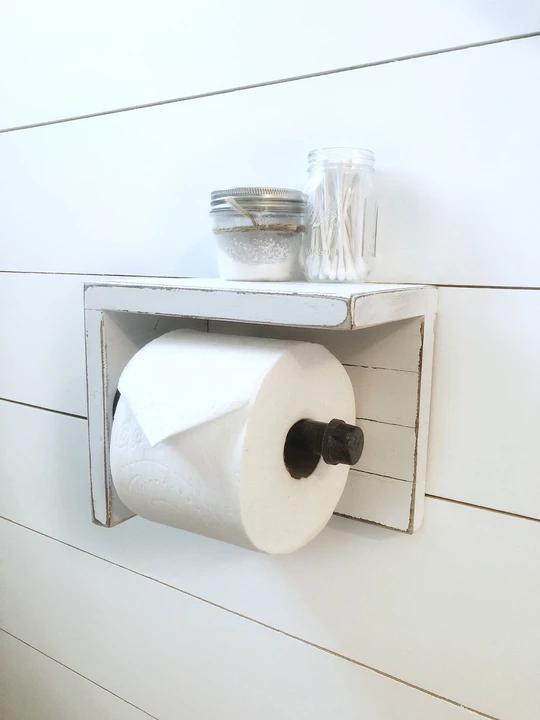 Wood Toilet Paper Holder Cottage Country Corner Banheiro Porta Papel Higienico Papel Higienico Small bathroom toilet paper holder