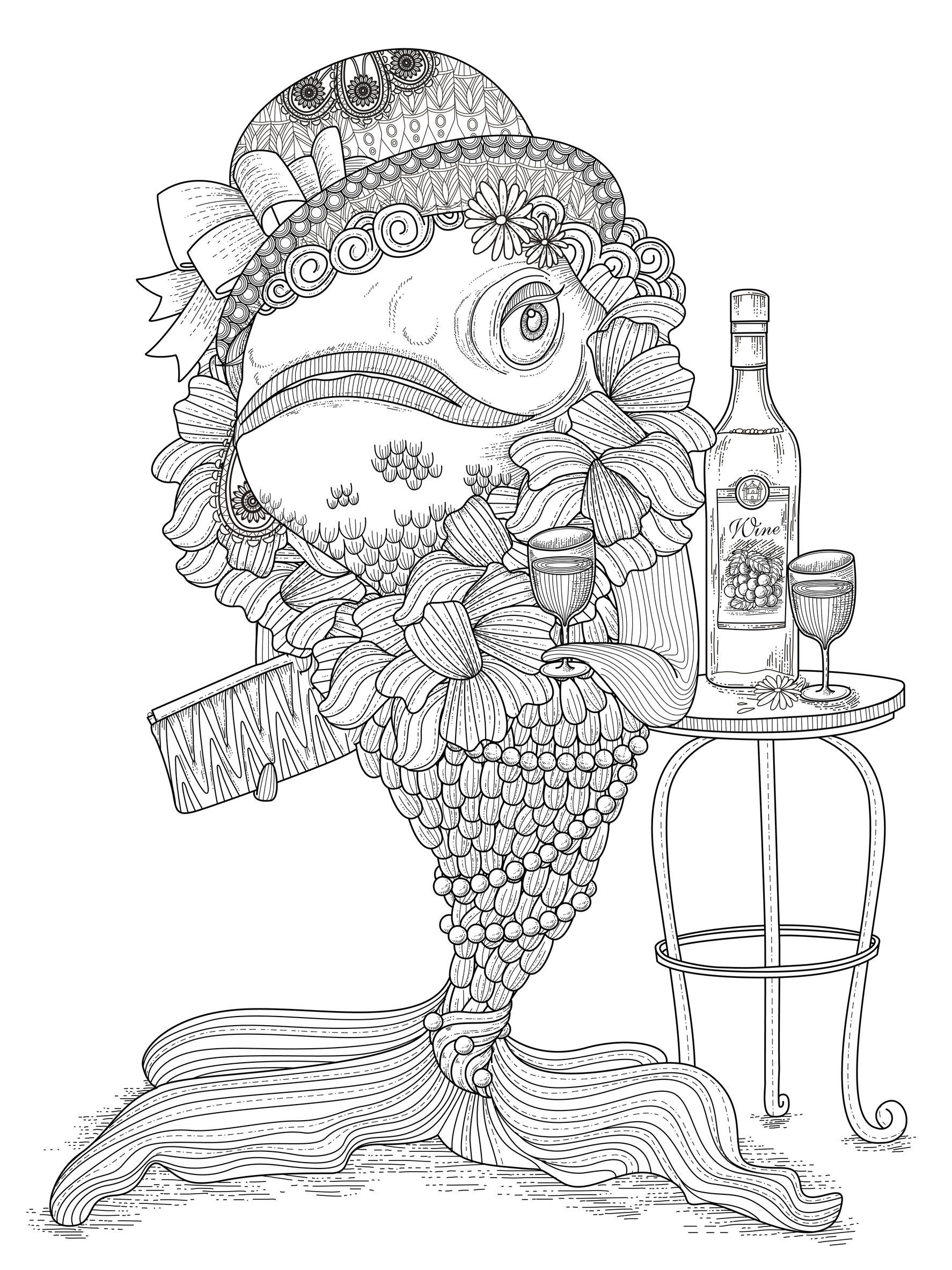 An coloring page of a fish very funny from the gallery for Adult fish coloring pages