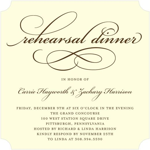 Timeless Calligraphy - Signature Ecru Rehearsal Dinner Invitations - Sarah Hawkins Designs - Black : Front