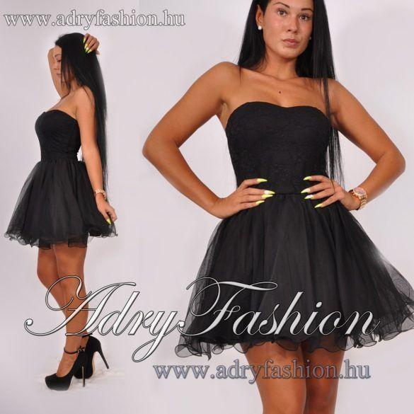 0aa89f6d62 Elegáns alkalmi tüll női fekete mini ruha | Alkalmi ruha - www ...