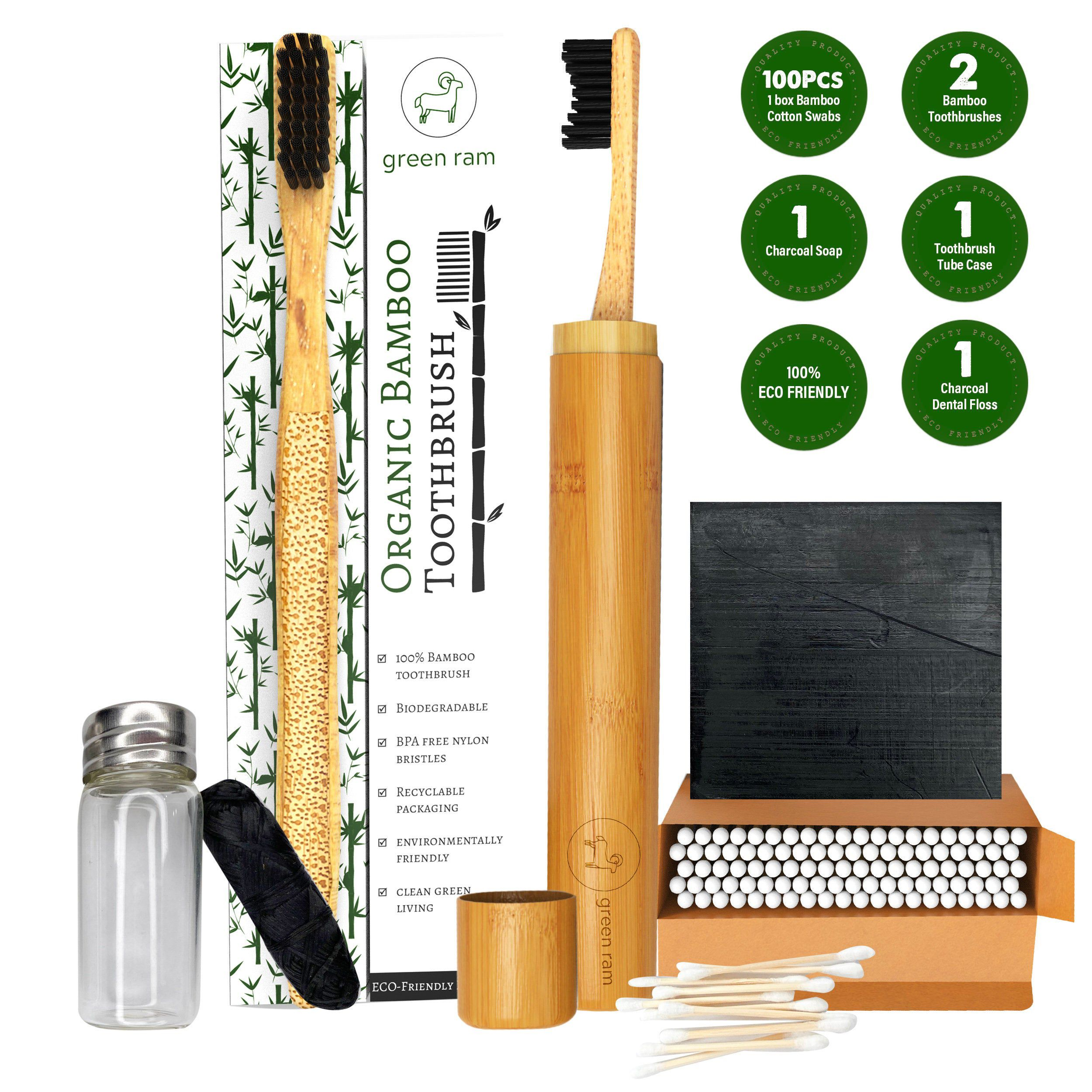 Bamboo toothbrush set engraved toothbrushes with travel