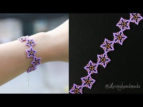 Lavender bracelet diy. How to make beaded bracelet. Beading tutorial - YouTube