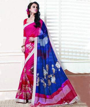 Xclusive Chhabra Cotton Silk Red And Blue Saree With Blouse. | I found an amazing deal at fashionandyou.com and I bet you'll love it too. Check it out!