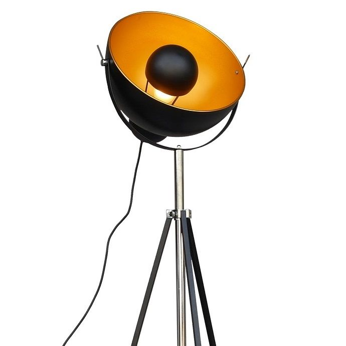Industrial Parabolic Tripod Floor Lamp With Gold Inner