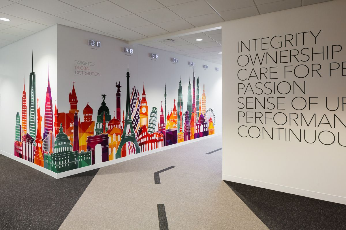Printed wall graphics for office branding https www for Office branding ideas