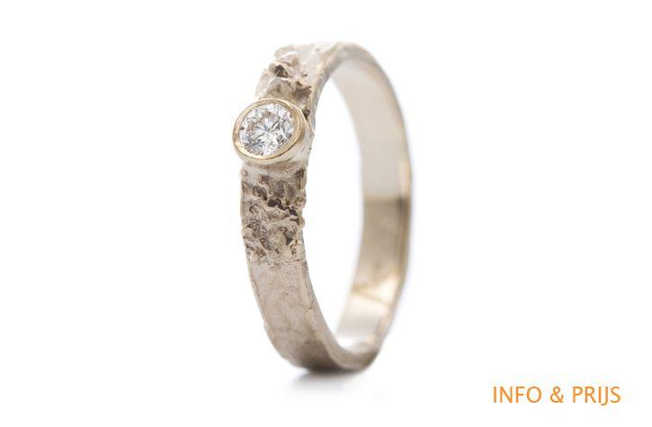 Gouden solitair diamant