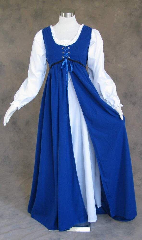 Renaissance Ren Faire Medieval Gown and Chemise SCA LOTR Dress Costume BLUE 4X