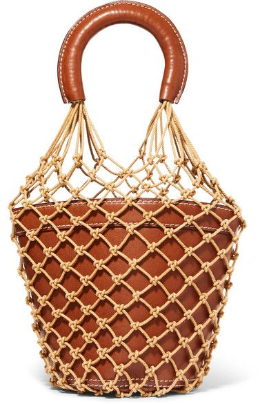 Moreau Macramae Leather Bucket Bag By Staud