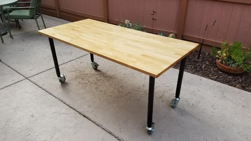My Ikea Hack On This Gerton Table With Olov Adjustable Legs And Service Caster Corporation S Expanding Stem Diy