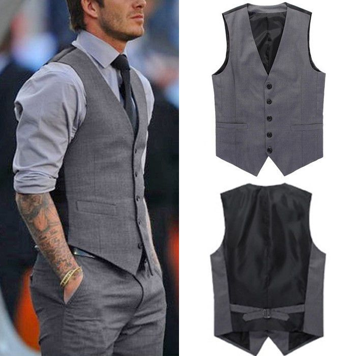 e066a303c49ce Men Casual Formal Slim Fit Business Waistcoat Grey Dress Vest Jacket Suit  Tuxedo in Clothing