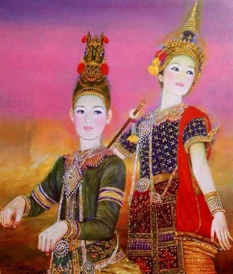 ภาพวาด อ.จักรพันธ์ โปษยกฤต ภาพวาด, ศิลปะไทย, การเพ้นท์สี