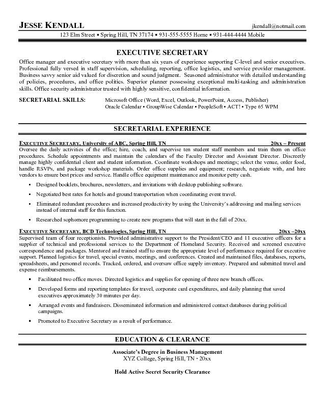 Resume Examples Secretary Pinterest Resume examples, Sample - peoplesoft administration sample resume