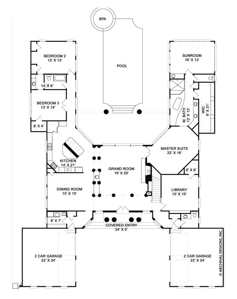 Pingree House Plan Master Bedroom Layout U Shaped House Plans Bedroom Layouts