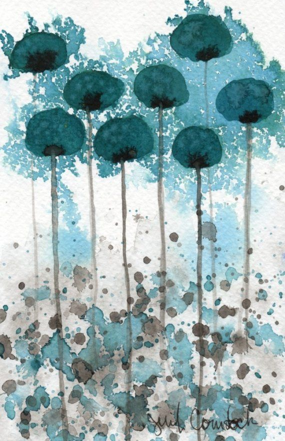 Vibration Teal Flowers Original Watercolor Painting Teal