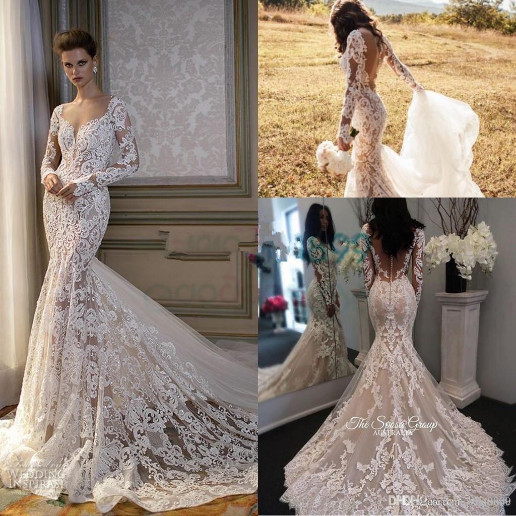 2017 Cathedral Train Mermaid Long Sleeve Wedding Dresses Sweetheart Covered Button Lace Embroidery Country Beach Berta Bridal Wedding Gowns From Whiteone 207 Long Sleeve Mermaid Wedding Dress Lace Wedding Dress Vintage [ 1024 x 1024 Pixel ]
