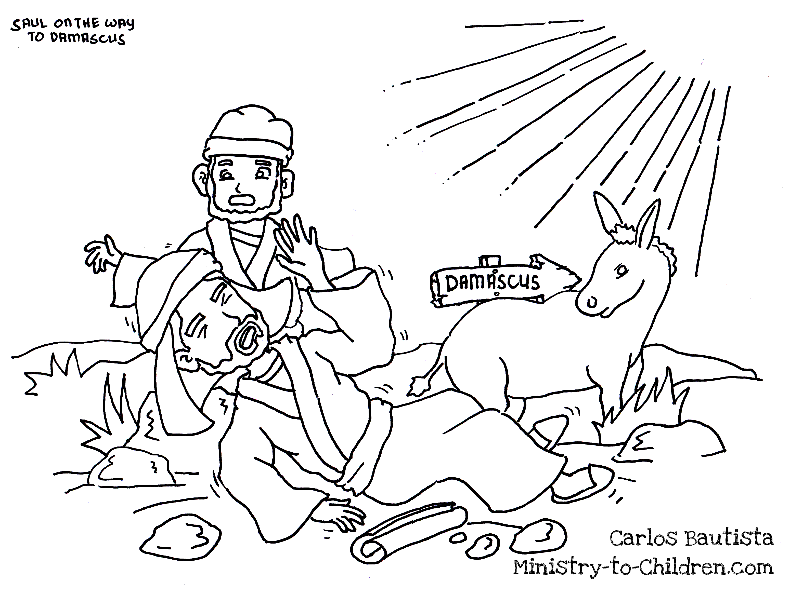 Saul On The Road To Damascus Coloring Page From Carlos Bautista A Childrens Ministry Leader In Philippines
