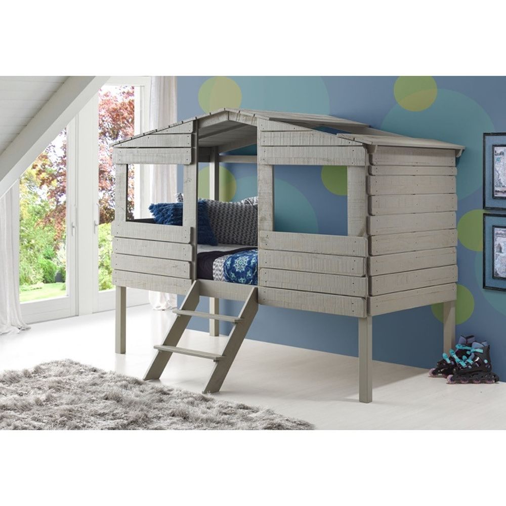 twin tree house low loft bed rustic gray dcg stores furniture