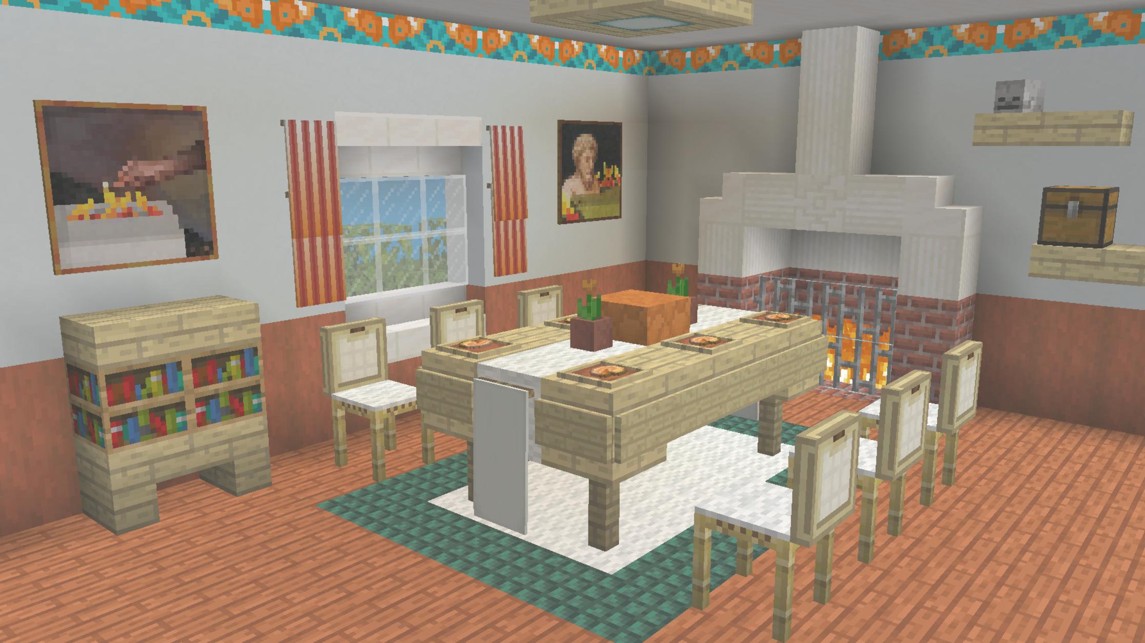 A Nice Little Dinner Room Minecraft Minecraftbuildingideas A Nice Little Dinner Room Minecraft Minecraft Decorations Minecraft Modern Minecraft Room